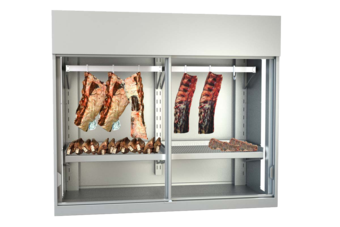 Meat presentation cabinet - with meat hanging rails and perforated shelves, for storage and presentation of dry aged beef - FPV-FB 110-E